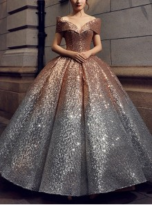 Gradient Sequins Off Shoulder Princess Ball Gown Dresses