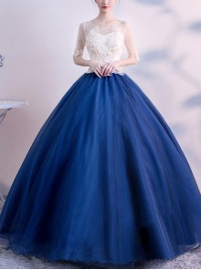 Backless Round Neck Half Sleeve Blue Hem Ball Gown Dress