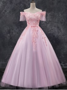 Pink Applique Off Shoulder Short Sleeve Ball Gown Dress
