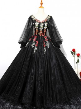 Sexy V-neck Flowers Embroidery Long Sleeve Ball Gown Dress