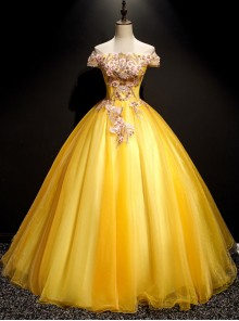 Pink Stereoscopic Beads Applique Yellow Off Shoulder Short Sleeve Ball Gown Dress