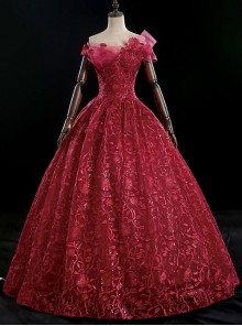 Red Off Shoulder Sequins Embroidery Ball Gown Dress