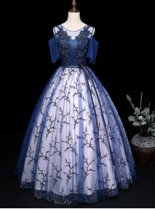 Blue Round Neck Embroidery Short Sleeve Ball Gown Dress