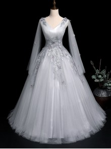 Gray Voile V-neck Embroidery Long Sleeve Ball Gown Dress