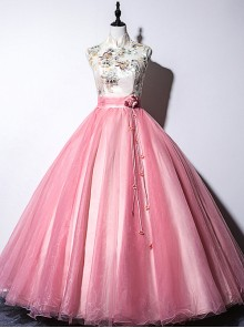 Pink Chinese Style Embroidery Stand Collar Sleeveless Ball Gown Dress