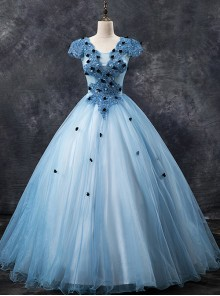 Black Embellish Blue Round Neck Short Sleeve Ball Gown Dress