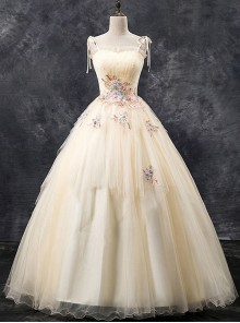 Embroidery Maiden Sling Ball Gown Dress