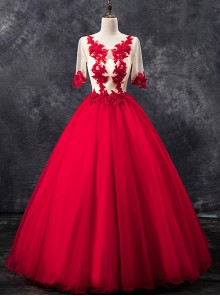 Red Embroidery Half Sleeve Ball Gown Dress