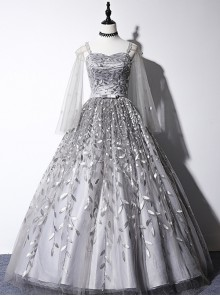 Sequin Embroidery Silver Grey Long Style Ball Gown Dress