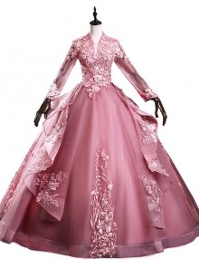 Stand Collar V-neck Long Sleeve Backless Palace Style Ball Gown Dress