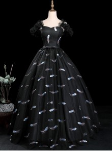 White Feather Embroidery Black Short Sleeve Ball Gown Dress
