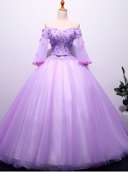Off Shoulder Elegant Lace Embroidery Ball Gown Dress