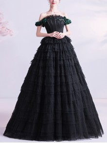 Black Off Shoulder Ball Gown Cupcake Dress