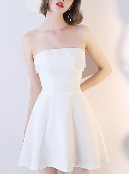 Pure White Sexy Strapless Short Style Party Cocktail Dress