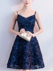 Blue Stereoscopic Applique Short Style Slim Sling Cocktail Dress