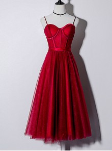 Red Sexy Slim Sling Medium Length Style Cocktail Dress