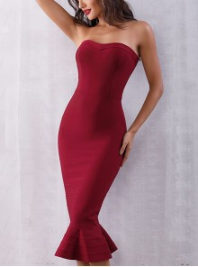 Multicolor Sexy Slim Small Fish-tail Hem Strapless Cocktail Dress