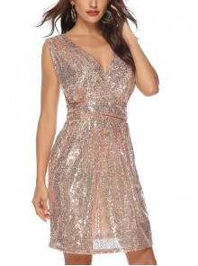 Sexy V-neck Sleeveless Sequin Cocktail Dress
