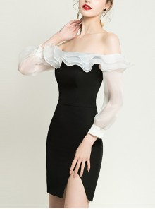 White Ruffle Off Shoulder Black Tight Long Sleeve Short Style Cocktail Dress