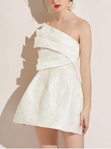 Sexy White Jacquard Sling Cocktail Dress