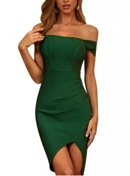 Green Off Shoulder Short Style Tight Cocktail Dress