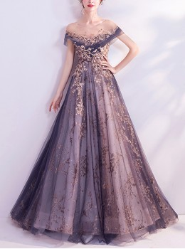 Hibiscus Purple Golden Thread Embroidery Lace Off Shoulder Evening Dress