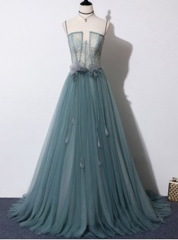 Translucent Upper Body Sexy Gray-green Sling Long Evening Dress