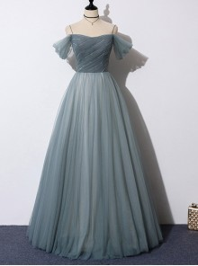 Gray-green Off Shoulder Sling Evening Dress