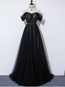 Off Shoulder Sexy Detachable Sleeves Black Evening Dress