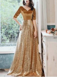 Elegant Golden V-neck Half Sleeve Evening Dress