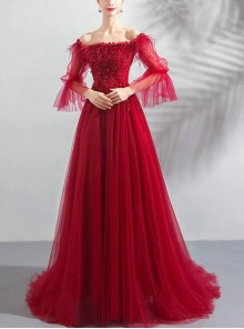 Red Feather Off Shoulder Sequin Embroidery Half Sleeve Evening Dress