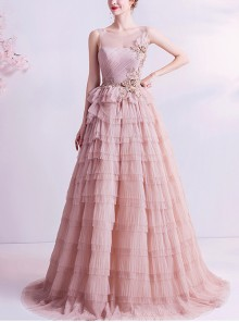 Elegant Pink Cupcake Dress Round Neck Sleeveless Evening Dress