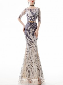 Round Neck Sequins Slim Long Fishtail Hem Evening Dress