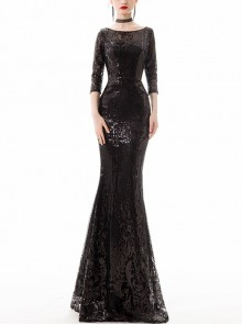Multicolor Sequins Round Neck Slim Fishtail Hem Long Evening Dress