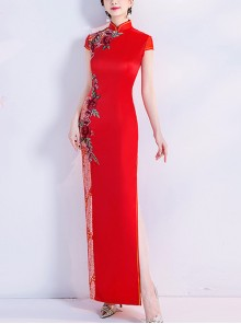 Chinese Style Stand Collar Cheongsam Flowers Embroidery High Opening Hem Evening Dress