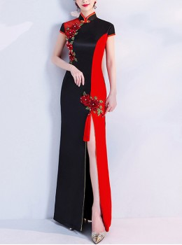 Chinese Style Stand Collar Two-color Stitching Cheongsam High Opening Hem Evening Dress