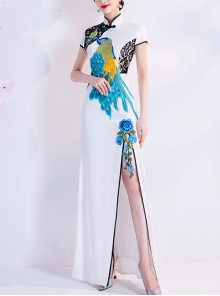Chinese Style Stand Collar Cheongsam Peacock Embroidery Evening Dress