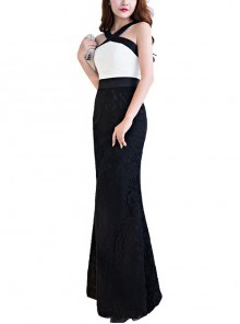 Black White Two-color Stitching Slim Fishtail Hem Evening Dress