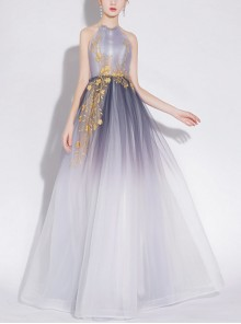 Sexy Backless Gradient Voile Lace-up Evening Dress