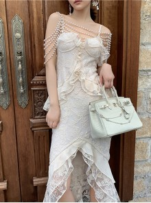 Pearl Chain Shawl Apricot Lace Ruffle Hem Sling Evening Dress