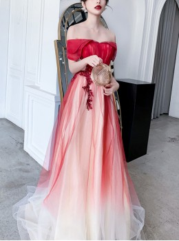 Simple Red Off Shoulder Gradient Long Style Evening Dress