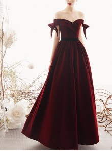 Red Velour Off Shoulder Bowknot Sleeve Evening Dress