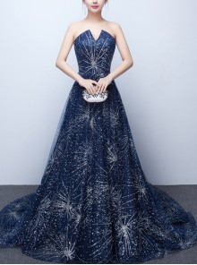 Delicate Sequins Appliques Sexy Sleeveless V-Neck Blue Long Evening Dress