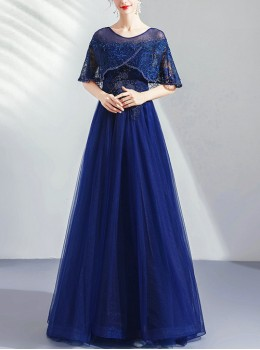 Temperament Lace Cape Bead Embroidery Round Neck Formal Dress