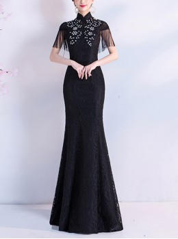 Chinese Style Black Stand Collar Cheongsam Tassel Short Sleeve Formal Dress