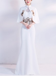 White Chinese Style Cheongsam Elegant Formal Dress With The Shawl