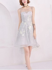 Sweet Gray Round Neck Voile Sleeveless High Low Hem Homecoming Dress