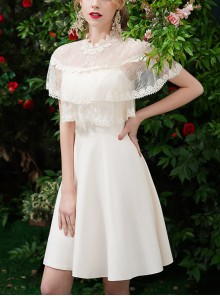Lace Round Neck Champagne Slim Homecoming Dress