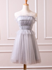 Sequins Ruffle Edge Strapless Short Style Homecoming Dress