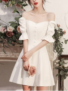 White Square Neck Short Puff Sleeve Homecoming Dress